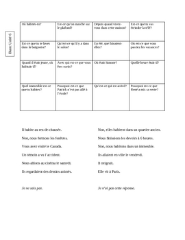 Blanc Unit 6 Fine Line Bingo game