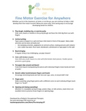 Fine Motor Activities and Exercises Handout
