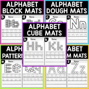 Fine Motor Alphabet Activities Mats - Blocks, Cubes, Pattern, Dough, Dab/Pom Pom