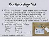 Fine Motor Bingo Card