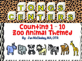 Fine Motor Counting Tongs Labs for Centers ZOO ANIMAL THEMED
