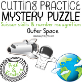 Fine Motor Cutting Activity and Number Recognition Puzzle, Outer space