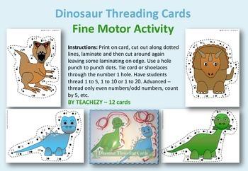 Fine Motor Dinosaur Threading Cards