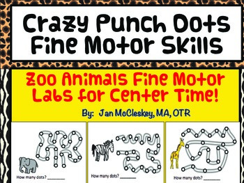 Fine Motor Labs: Crazy Punch Dots Zoo Animal Themed for Center Time