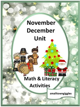 Fine Motor November December Math Literacy Cut Paste Special Education Autism
