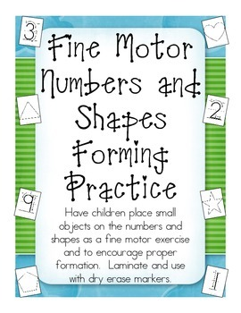 Fine Motor Numbers and Shapes forming practice