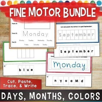 Fine Motor OT BUNDLE: Days of the Week/ Months   NO PREP