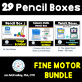 Fine Motor Pencil Box Bundle of Tongs, Scissors and Pencil
