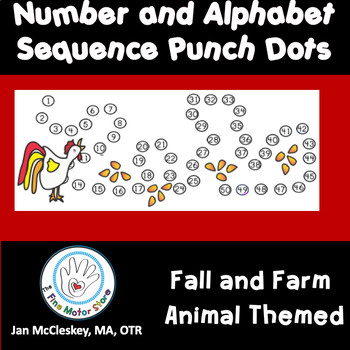 Fine Motor Punch Dots:  Numbers/ a - z sequences - FALL AND FARM ANIMAL THEMED
