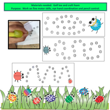 Fine Motor Punch Dots Numbers and a - z sequences  BUG THEMED
