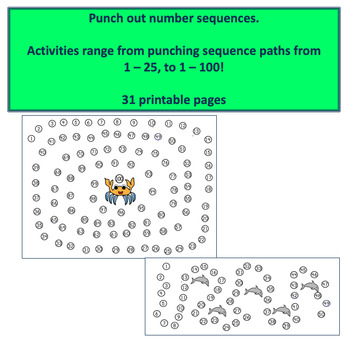 Fine Motor Punch Dots:  Numbers and a - z sequences - Sea Animal Themed