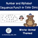 Fine Motor Punch Dots: Numbers and a - z sequences WINTER ANIMALS