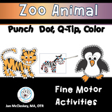 Fine Motor Punch Q-Tip Color Zoo Animals