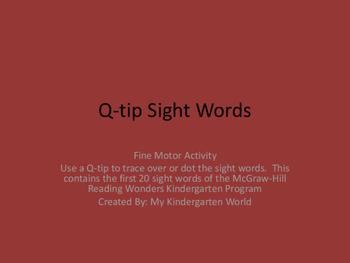 Fine Motor: Q-tip Sight Words