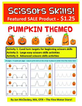 Fine Motor Scissors Skills:  Pumpkin Themed Dotted Scissors Strips