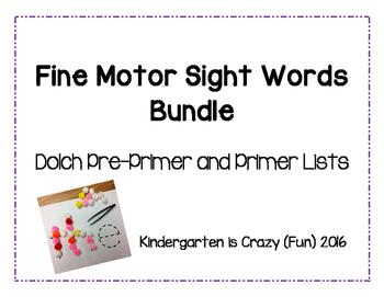 Dolch Pre-Primer AND Primer Fine Motor Sight Words Bundle