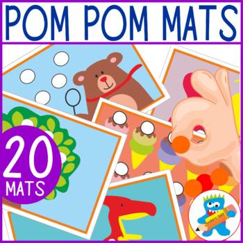Fine Motor Skills 20 Pom Poms Mats.