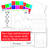 Fine Motor Skills Activities Worksheets to Save Time and Stress for Educators