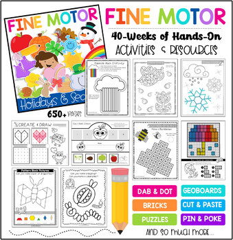 Fine Motor Skills Bundle: A Year of Instant Thematic Centers Holidays & Seasons