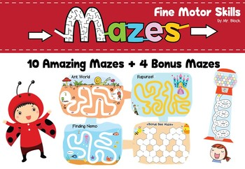 Fine Motor Skills Mazes & Tracing & Coloring for Preschool, Special Education