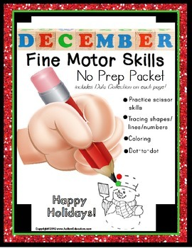 Fine Motor Skills NO PREP Worksheet Packet for DECEMBER (Special Education)