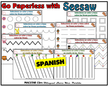 Fine Motor Skills Pre-Writing Activities in Spanish for Seesaw