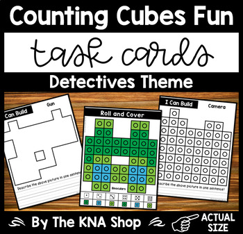 Fine Motor Task Cards - Counting Cubes Detectives Theme
