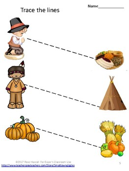 Thanksgiving, Tracing Activities,Tracing Lines,Fine Motor Skills,Special Ed