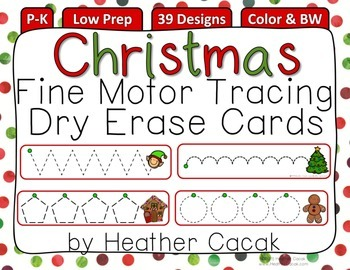 Fine Motor Tracing Dry Erase Cards P-K {CHRISTMAS}