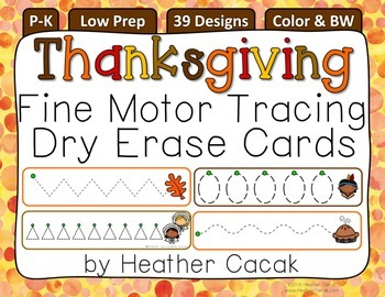 Fine Motor Tracing Dry Erase Cards P-K {THANKSGIVING}