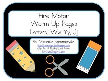 Fine Motor Warm Up Packet: Letters W, Y, J