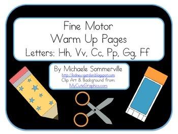 Fine Motor Warm Up Packet: Letters H, V, C, P, G, F
