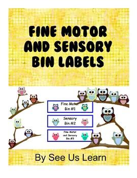 Fine Motor and Sensory Bin Labels