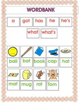 Fine Motor and Text Recognition - Kindy Reader 2 - What's Tom Got?