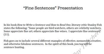 Fine Sentence Presentation: Rhetorical Analysis Assessment and Practice