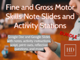 Fine and Gross Motor Skills Notes and Activity Stations for Child Dev. BUNDLE