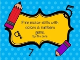 Fine motor skills with colors/numbers game.