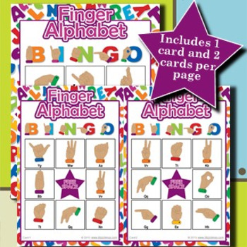Finger Alphabet 3x3 Bingo 30 Cards