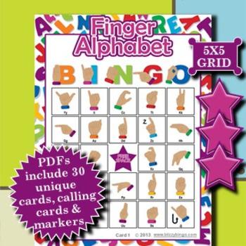 Finger Alphabet 5x5 Bingo 30 Cards