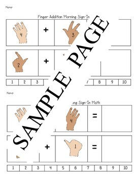 Finger Counting Addition Math Morning Sign-In Activity