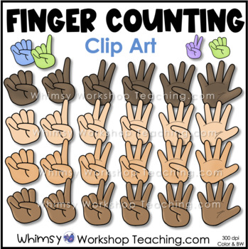 Finger Counting Hands Clip Art - Whimsy Workshop Teaching