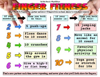 Finger Fitness instant activity similar to R-P-S for PE