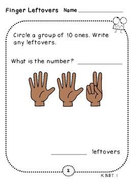 Finger Leftover Place Value Pages (Kindergarten-K.NBT.1)