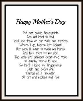 Finger Painting Mother's Day Poem