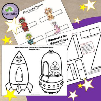 Finger Puppet Craft Activity with Aliens and Space Ships