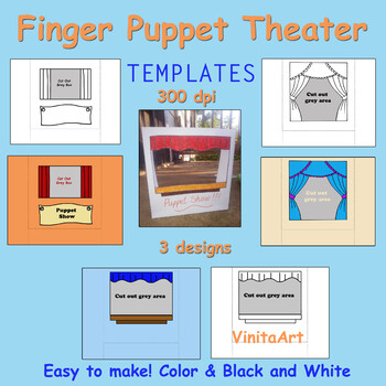 Finger Puppet Theater templates, Easy to fold, stand alone puppet shows