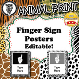 Finger Sign Posters   - Animal Print - ZisforZebra - Editable!