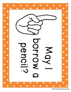 Finger Signals | Pencil, Tissue, Water, Bathroom, Help/Question