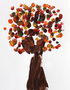 Finger painting: Autumn tree