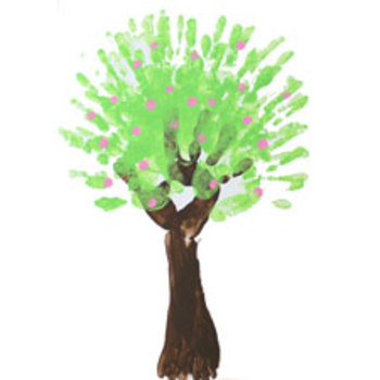 Finger painting: Spring tree